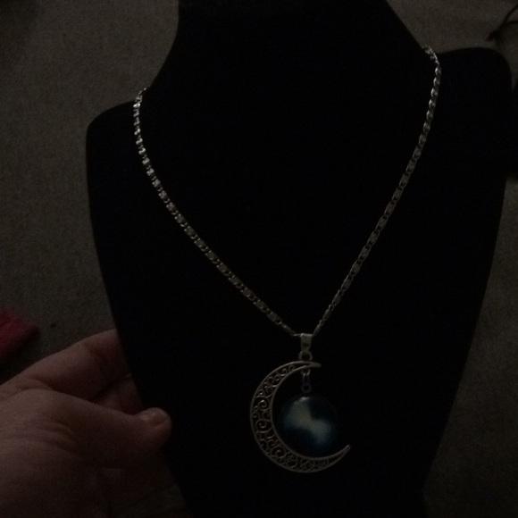 e484f117bd1 Crescent moon nebula necklace